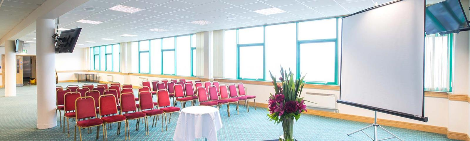 Prince Regent Suite at Brighton Racecourse set up ready for a presentation.