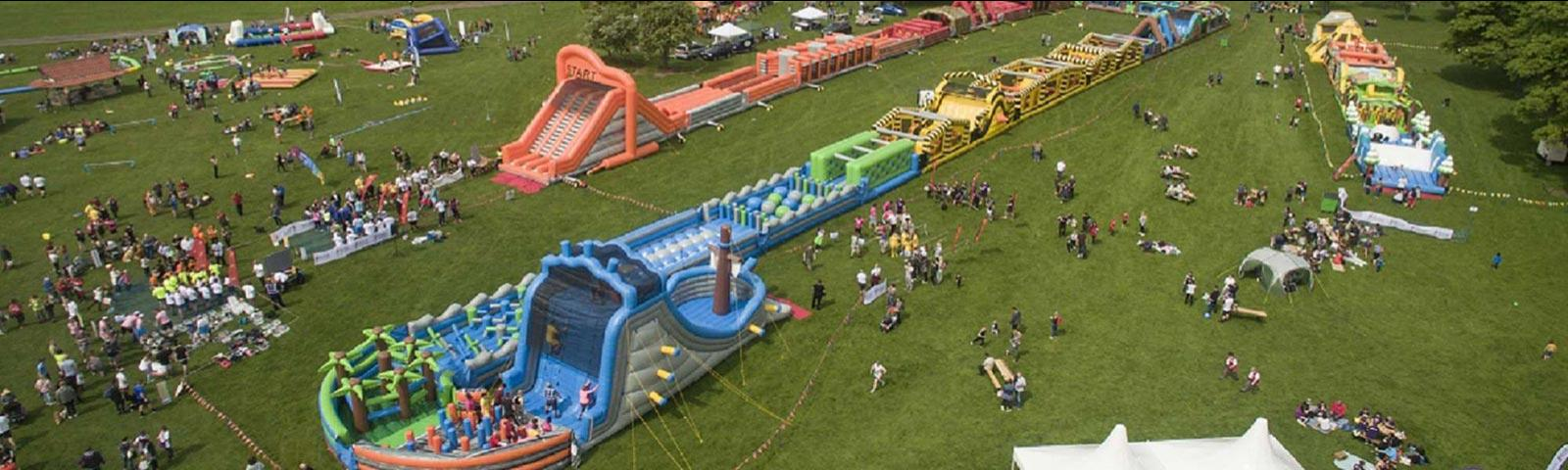 Obstacle course built out of inflatables at Brighton Racecourse.
