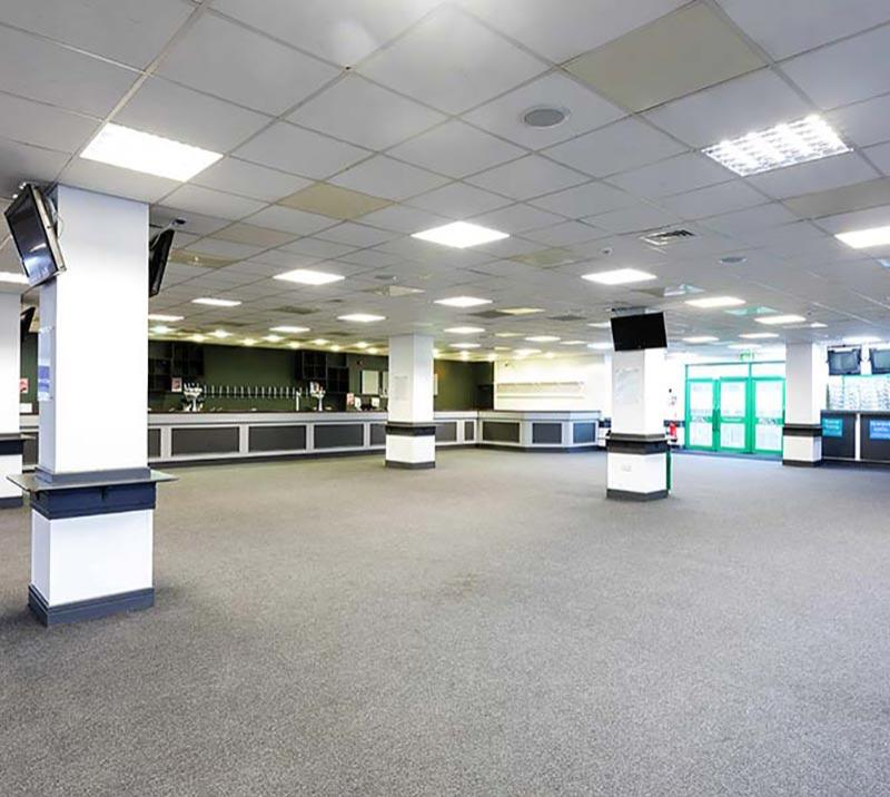 An internal view of the Premier Hall at Brighton Racecourse.