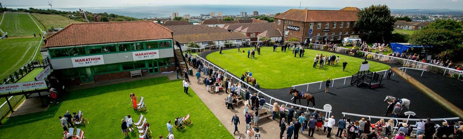 An aerial view of the parade ring and surrounding area at Brighton Racecourse.