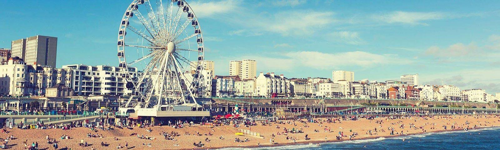 Brighton beach with the large ferris wheel