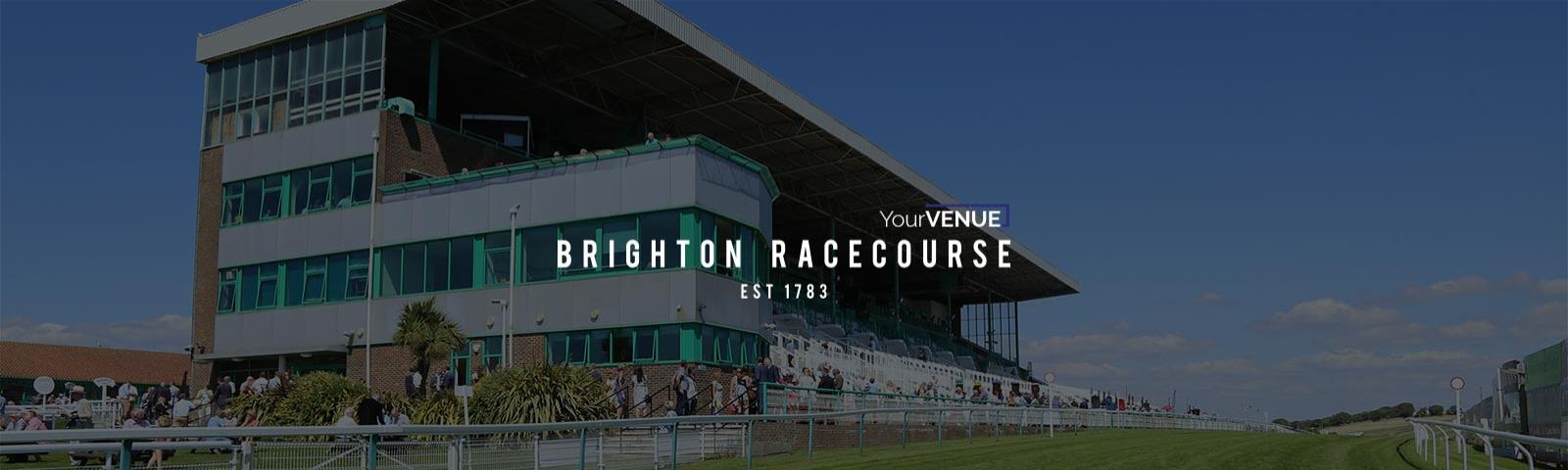 Brighton Racecourse' Grandstand with a YourVENUE promotional overlay.